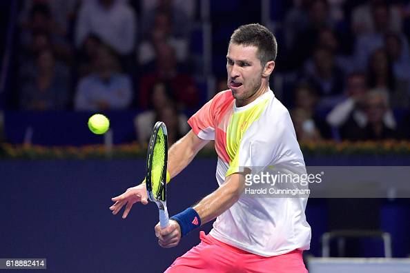 Mischa Zverev of Germany in action during the Swiss Indoors ATP 500 tennis tournament match against Stan Wawrinka of Switzerland at St Jakobshalle on...