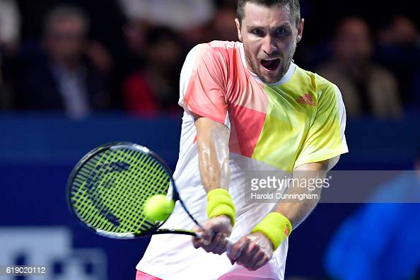 Mischa Zverev of Germany in action during the Swiss Indoors ATP 500 tennis tournament semifinal match against Marin Cilic of Croatia at St...
