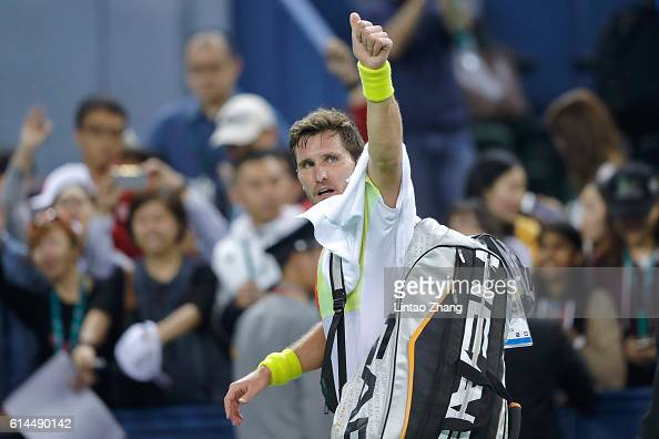 Mischa Zverev of Germany leaves the court after lost during day six of Shanghai Rolex Masters at Qi Zhong Tennis Centre on October 14 2016 in...