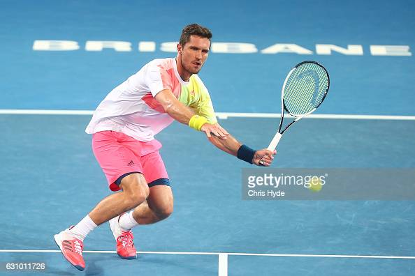 Mischa Zverev of Germany plays a forehand during his quarter final match against Rafael Nadal of Spain during day five of the 2017 Brisbane...