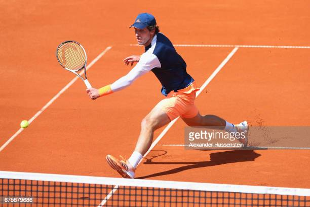 Mischa Zverev of Germany plays the ball at his first round match against Dustin Brown of Germany during the 102 BMW Open by FWU at Iphitos tennis...