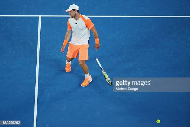 Mischa Zverev of Germany reacts after lsoing a point in his quarterfinal match against Roger Federer of Switzerland day nine of the 2017 Australian...