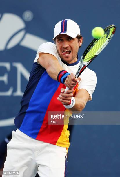 Mischa Zverev of Germany returns a shot against Benoit Paire of France during their second round Men's Singles match on Day Three of the 2017 US Open...