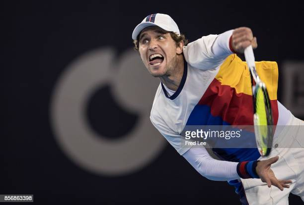Mischa Zverev of Germany returns a shot against JanLennard Struff of Germany during the Men's singles first round match on day three of the 2017...