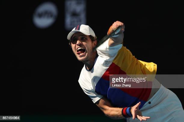Mischa Zverev of Germany returns a shot against Nick Kyrgios of Aurstralia during the Men's singles second round on day five of 2017 China Open at...