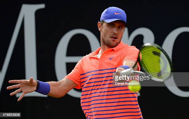 Mischa Zverev of Germany returns during his match against Marin Cilic of Croatia on day seven of Mercedes Cup 2015 on June 12 2015 in Stuttgart...