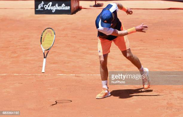 Mischa Zverev throws the ground racket during his match against Tomas Berdych Internazionali BNL d'Italia 2017 on May 15 2017 in Rome Italy