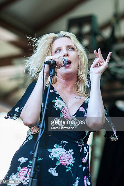 Mish BarberWay of White Lung performs at St Jerome's Laneway Festival on January 26 2017 in Brisbane