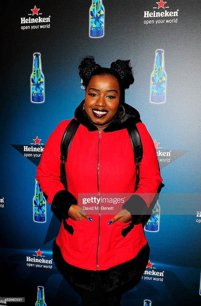 Misha B attends the Heineken Design Night VIP Lounge celebrating the launch of the Heineken Club Bottle at the Canary Wharf Ice Skating Rink on...