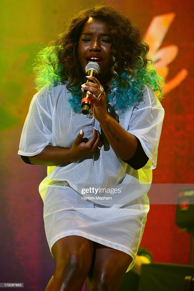 Misha B performs at Radio One's Rock Assembly at Wembley Arena on July 10 2013 in London England