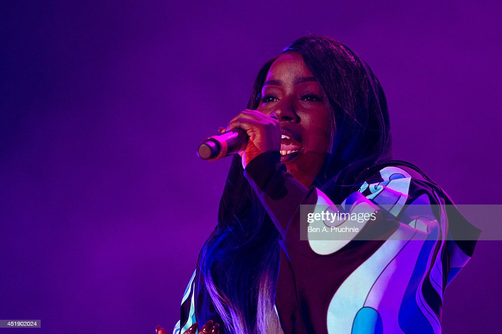 Misha B performs at Rock Assembly 2014 a free end of term gig for 10000 school students at Wembley Arena on July 9 2014 in London England