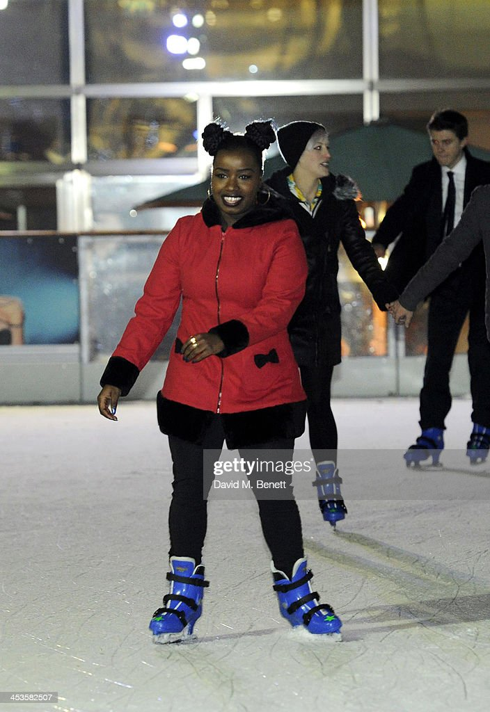 Misha B skates at the Heineken Design Night VIP Lounge celebrating the launch of the Heineken Club Bottle at the Canary Wharf Ice Skating Rink on...