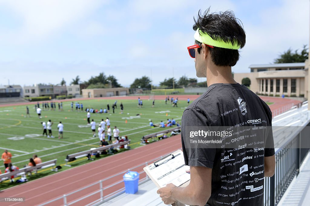 Misha Chellam oversees the competition at the Founder Institute's Silicon Valley Sports League on July 13, 2013 in San Francisco, California.