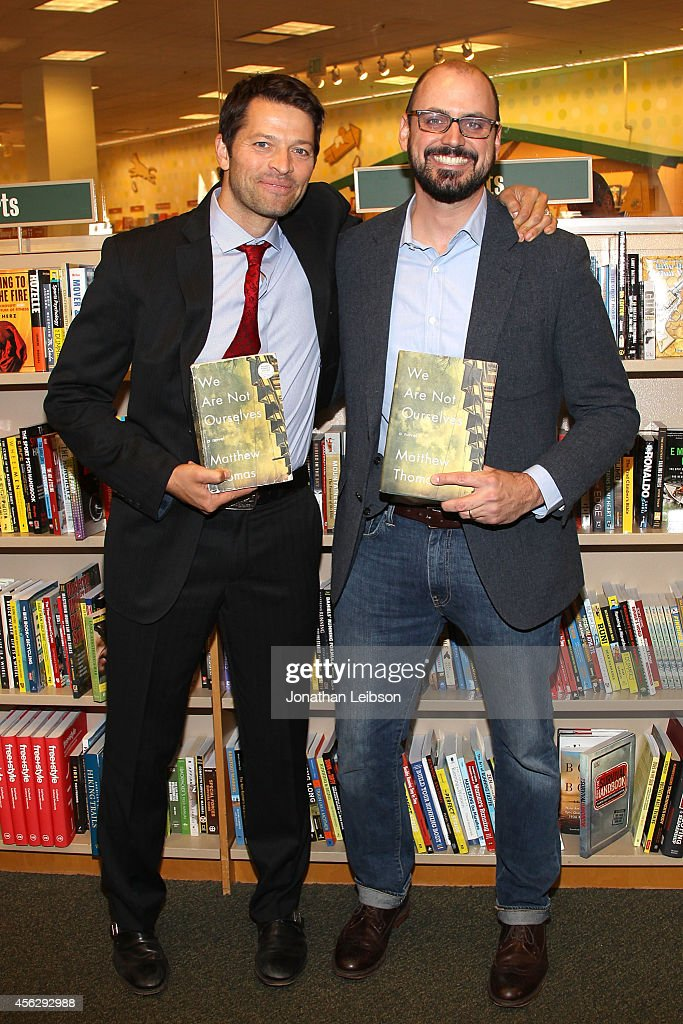 Misha Collins and Matthew Thomas attend the Matthew Thomas at Barnes & Noble bookstore at The Grove on September 28, 2014 in Los Angeles, California.