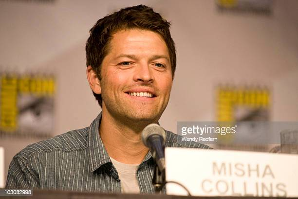 Misha Collins speaks at the Supernatural panel at ComicCon on July 25 2010 in San Diego California