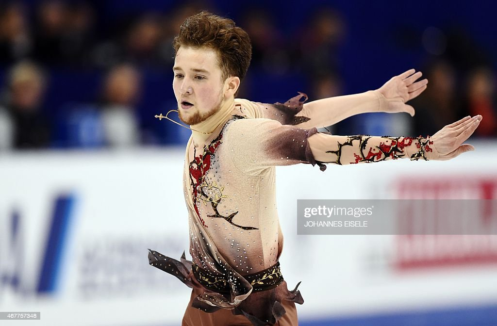 <a gi-track='captionPersonalityLinkClicked' href=/galleries/search?phrase=Misha+Ge&family=editorial&specificpeople=7504752 ng-click='$event.stopPropagation()'>Misha Ge</a> of Uzbekistan performs during the men's short program of the 2015 ISU World Figure Skating Championships at Shanghai Oriental Sports Center in Shanghai, on March 27, 2015.