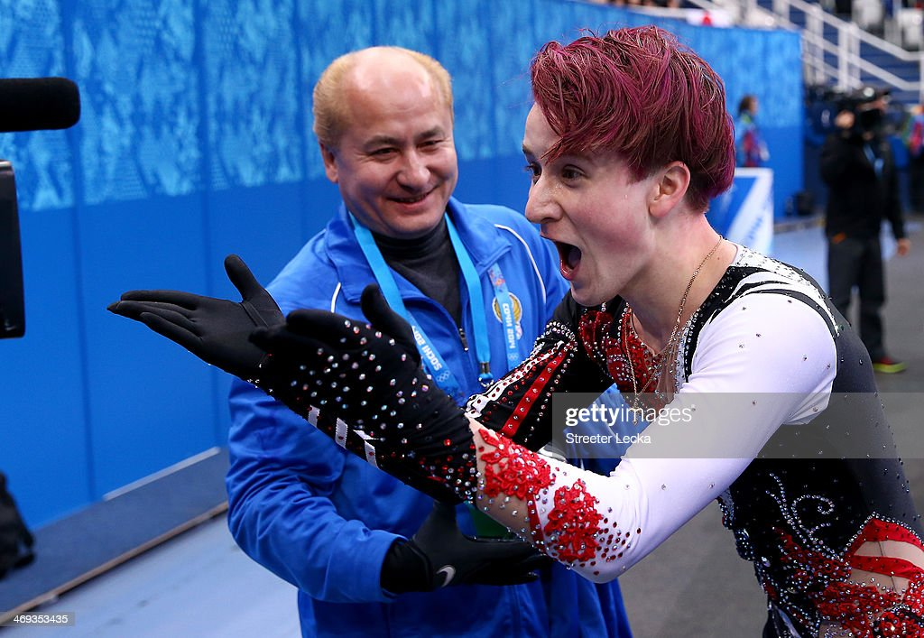 <a gi-track='captionPersonalityLinkClicked' href=/galleries/search?phrase=Misha+Ge&family=editorial&specificpeople=7504752 ng-click='$event.stopPropagation()'>Misha Ge</a> of Uzbekistan reacts after he competes during the Figure Skating Men's Free Skating on day seven of the Sochi 2014 Winter Olympics at Iceberg Skating Palace on February 14, 2014 in Sochi, Russia.