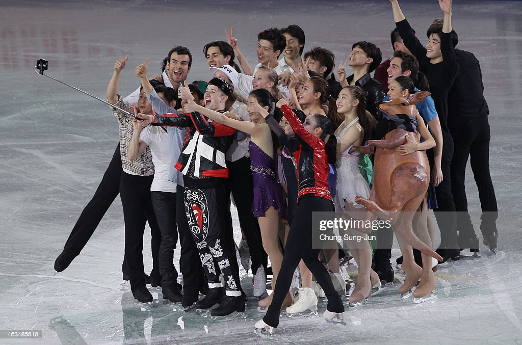 <a gi-track='captionPersonalityLinkClicked' href=/galleries/search?phrase=Misha+Ge&family=editorial&specificpeople=7504752 ng-click='$event.stopPropagation()'>Misha Ge</a> of Uzbekistan takes a selfie with other skaters after the Gala Exhibition on day four of the ISU Four Continents Figure Skating Championships 2015 at the Mokdong Ice Rink on February 15, 2015 in Seoul, South Korea.