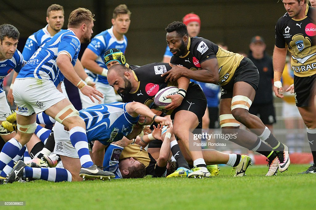 Misha Nariashvili from Montpellier and Fulgence OueDraogo from Montpellier in action during the game between Montpellier Herault Rugby v Newport Gwent Dragons at Altrad Stadium on April 23, 2016 in Montpellier, France.