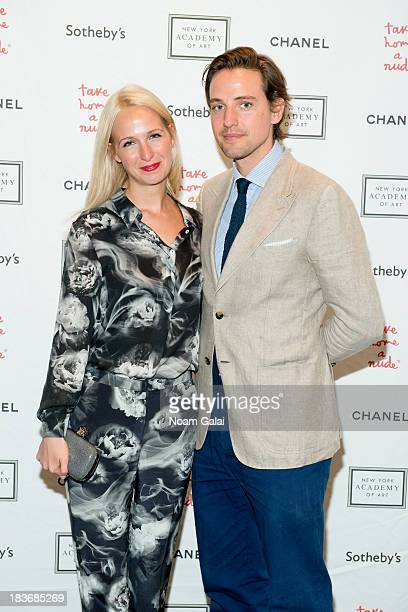 Misha Nonoo and Alexander Gilkes attend 2013 'Take Home A Nude' Benefit Art Auction And Party at Sotheby's on October 8 2013 in New York City