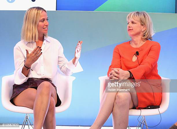 Misha Nonoo and Allie Kline speak onstage at Breaking the Mold at Thomson Reuters during 2016 Advertising Week New York on September 26 2016 in New...