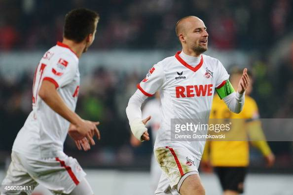 Miso Brecko of 1 FC Koeln celebrates after scoring his team's third goal during the Second Bundesliga match between 1 FC Koeln and Dynamo Dresden at...