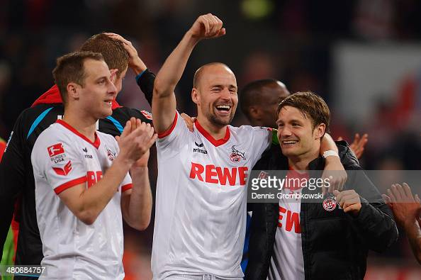 Miso Brecko of 1 FC Koeln celebrates with team mates during the Second Bundesliga match between 1 FC Koeln and Karlsruher SC at RheinEnergieStadion...