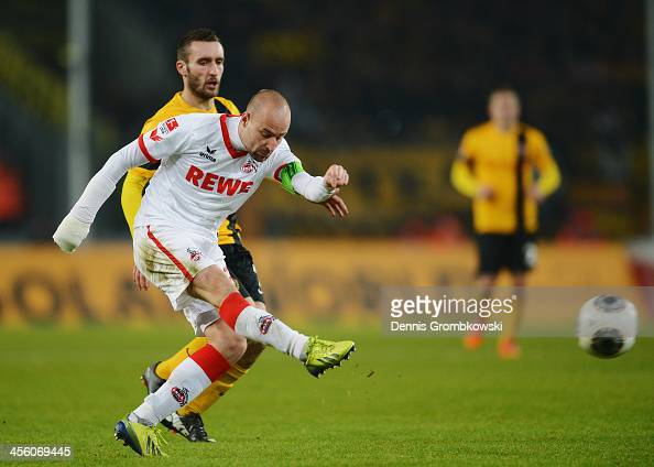 Miso Brecko of 1 FC Koeln scores his team's third goal during the Second Bundesliga match between 1 FC Koeln and Dynamo Dresden at...