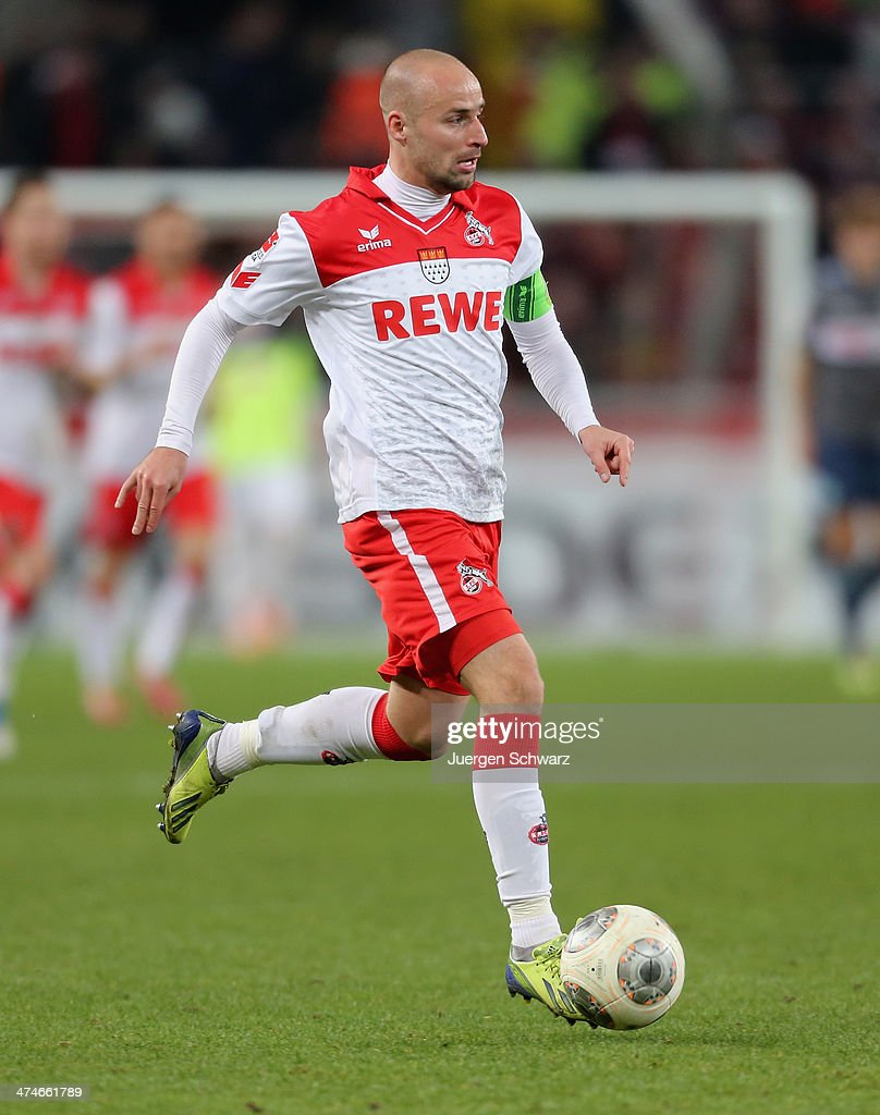 Miso Brecko of Cologne controls the ball during the 2nd Bundesliga match between 1. FC Koeln and Greuther Fuerth at RheinEnergieStadion on February 24, 2014 in Cologne, Germany.