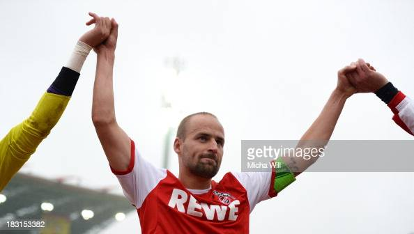 Miso Brecko of Koeln celebrates after winning the Second Bundesliga match between Karlsruher SC and 1 FC Koeln at Wildparkstadion on October 5 2013...