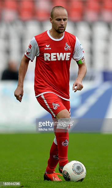 Miso Brecko of Koeln runs with the ball during the Second Bundesliga match between Karlsruher SC and 1 FC Koeln at Wildparkstadion on October 5 2013...
