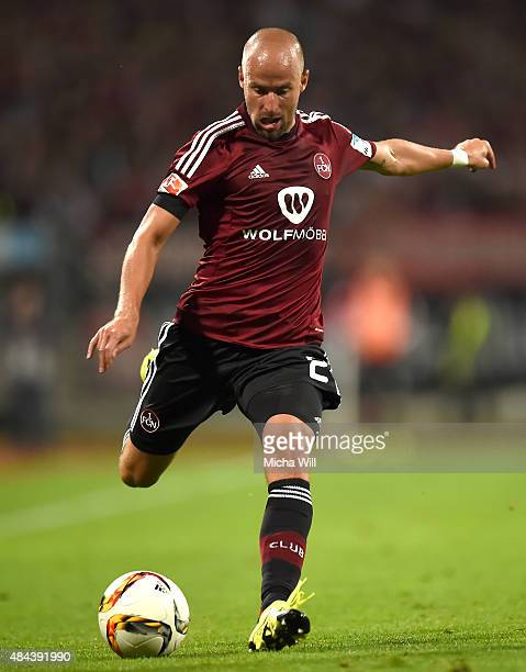 Miso Brecko of Nuernberg kicks the ball during the second Bundesliga match between 1 FC Nuernberg and TSV 1860 Muenchen at GrundigStadion on August...