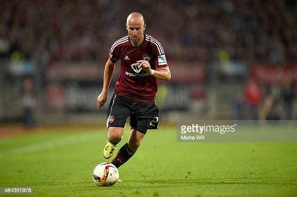 Miso Brecko of Nuernberg runs with the ball during the second Bundesliga match between 1 FC Nuernberg and TSV 1860 Muenchen at GrundigStadion on...