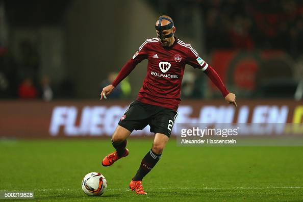 Miso Brecko of Nuernberg runs with the ball during the Second Bundesliga match between 1 FC Nuernberg and SC Paderborn 07 at GrundigStadion on...