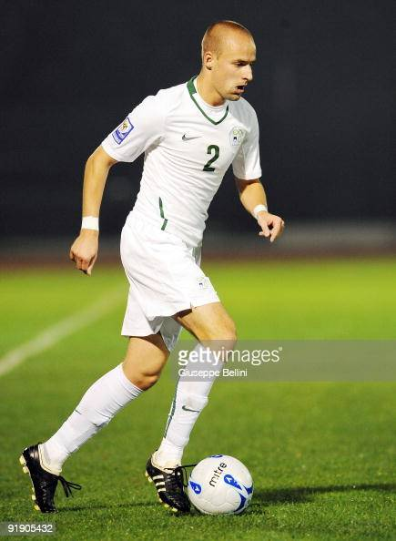Miso Brecko of Slovenia in action during the FIFA 2010 World Cup Group 3 Qualifying match between San Marino and Slovenia at Stadio Olimpico on...
