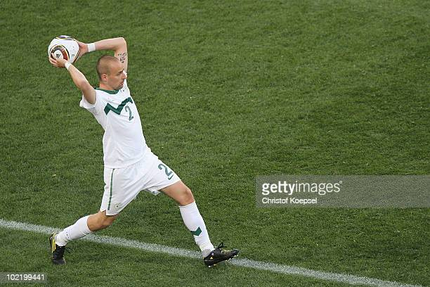 Miso Brecko of Slovenia throws the ball in during the 2010 FIFA World Cup South Africa Group C match between Slovenia and USA at Ellis Park Stadium...