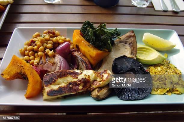 Miso eggplant, roast pumpkin, spiced chickpeas, halloumi, field mushroom, kale chips, avocado, beetroot hommus, spanish onion, middle-eastern dukkah