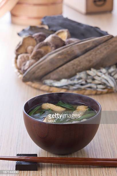 Miso Soup and Ingredients of Dashi