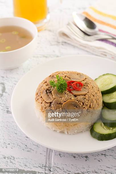 Miso Soup And Steamed Mushroom Rice