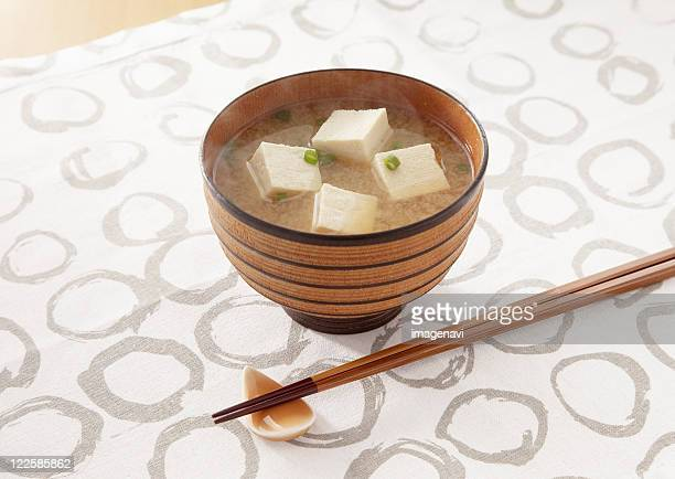 Miso soup with cubed tofu