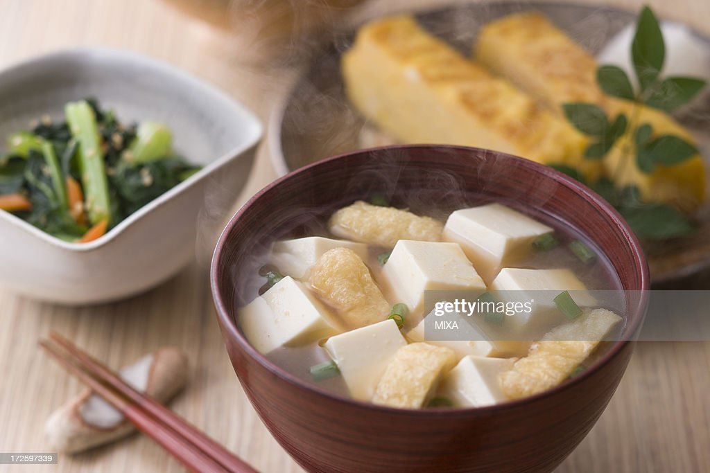 Miso Soup with Tofu and Aburaage : Stock Photo