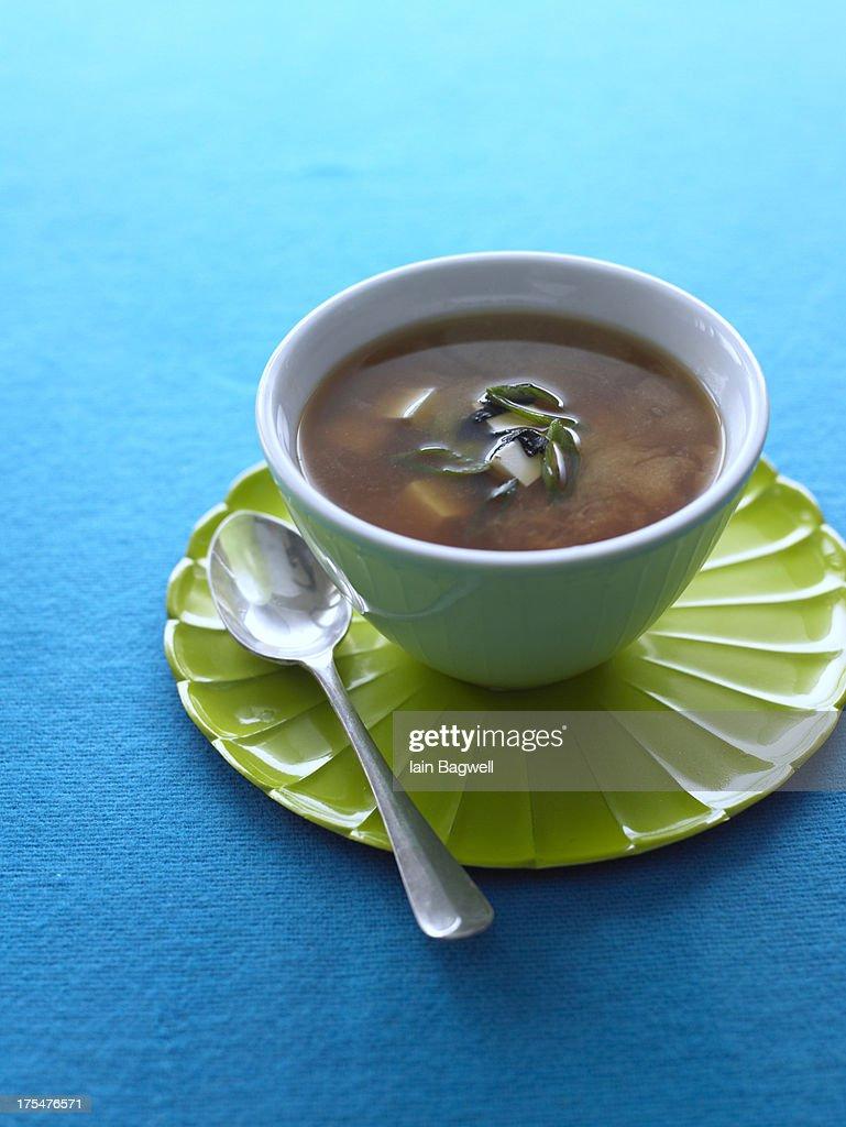 miso soup with tofu & nori : Stock Photo