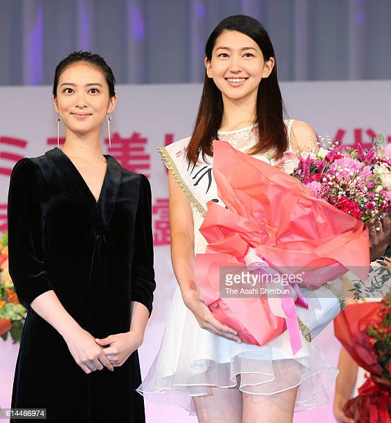 Miss 20s Contest winner Hitomi Korenaga poses for photographs with actress Emi Takei during the Miss 20s Contest award ceremony on September 29 2016...