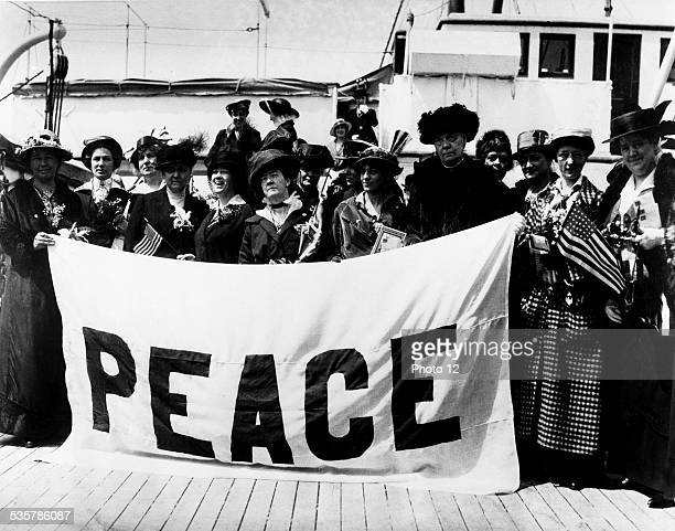 Miss Adams taking on board to go to the Women's Peace Congress in La Haye on April 4th of 1915 Miss Jane Adams from Chicago leads the American...