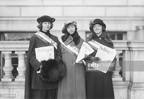 Miss Alice Smith Miss S J de Crasse and Miss G H Halleran selling the Suffragist in Boston