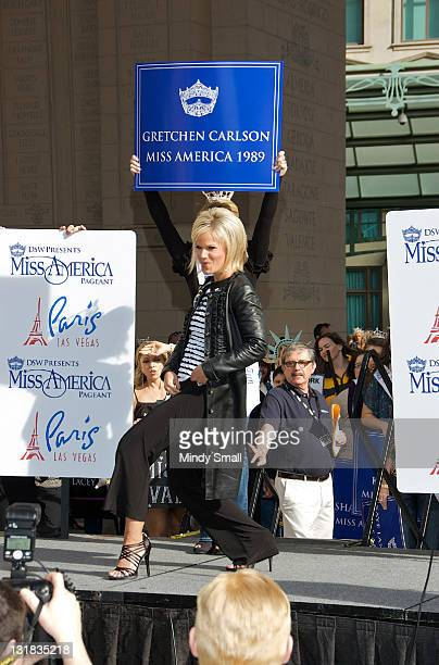 Miss America 1989 Gretchen Carlson attends the 2011 Miss America's 'Show Us Your Shoes' Parade at Paris Las Vegas on January 14 2011 in Las Vegas...