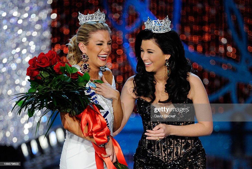 Miss America 2012 Laura Kaeppeler (R) congratulates Mallory Hytes Hagan of New York, after being crowned the new Miss America during the 2013 Miss America Pageant at PH Live at Planet Hollywood Resort & Casino on January 12, 2013 in Las Vegas, Nevada.