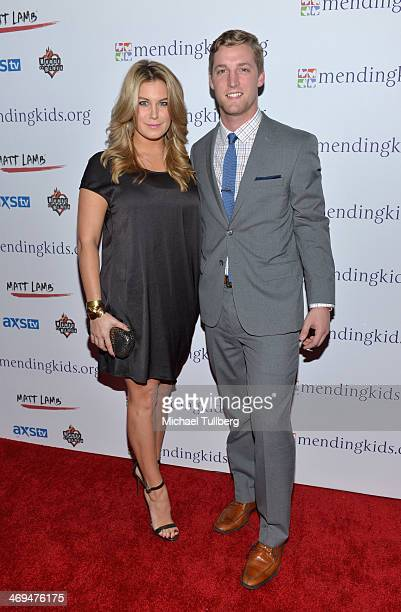 Miss America 2013 Mallory Hagan and Brent Adams attend the Mending Kids International's 'Rock Roll AllStars' Fundraising Event on February 14 2014 in...
