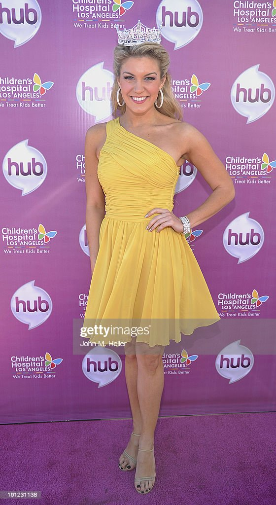 Miss America 2013 <a gi-track='captionPersonalityLinkClicked' href=/galleries/search?phrase=Mallory+Hagan&family=editorial&specificpeople=9408105 ng-click='$event.stopPropagation()'>Mallory Hagan</a> arrives at the My Little Pony Coronation Concert at the Brentwood Theatre on February 9, 2013 in Los Angeles, California.