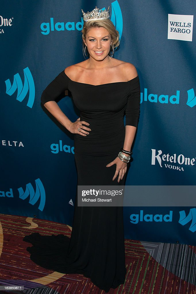 Miss America 2013 Mallory Hagan attends the 24th annual GLAAD Media awards at The New York Marriott Marquis on March 16, 2013 in New York City.